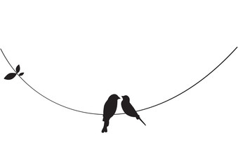 Birds on Wire, Wall Decals, Couple of Birds in Love, Art Decoration, Wall Decor, Birds Silhouette on branch isolated on white background