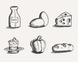 Retro icon set of food. Hand drawn vector illustrations of products. Line art sketch style. The bottle of milk, two eggs, cake with strawberry and cream, bell pepper, loaf of bread and piece of cheese