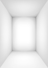 Empty white room. The inner space of the box. Vector design illustration. Mock up for you business project