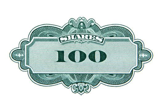 One hundred shares decorative element