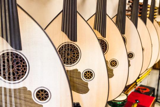 Turkish string instrument lavuta (lute).