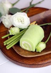 Japanese dessert rolls of tea matcha on the table