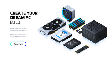 Gaming, workstation and mining computer isometric illustration, custom assembly computer components for workstation, pc store and service