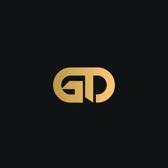 Fototapeta GD or DG logo vector. Initial letter logo, golden text on black background obraz