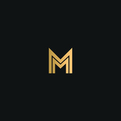 MM or M logo vector. Initial letter logo, golden text on black background