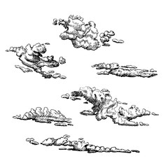 Clouds set, hand drawn in engraving style. Vector graphic illustration of cloudy sky.