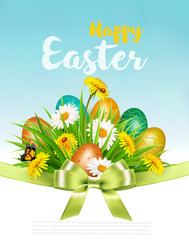 Easter Holiday Background with colofrul eggs in green grass and spring flowers. Vector.