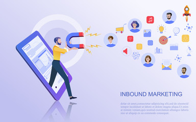 Modern flat design concept of marketing for banner and website templates Inbound marketing, customer attraction, , analysis including marketing promotion, vector illustration.