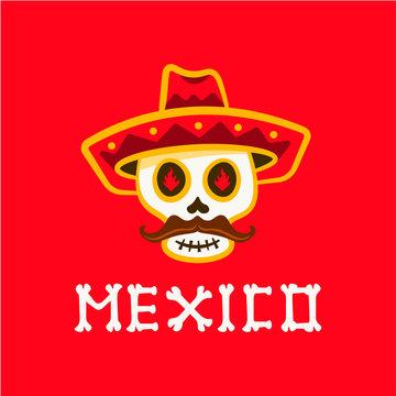 Mexican Skulls Logo. Day of the Dead Vector illustration