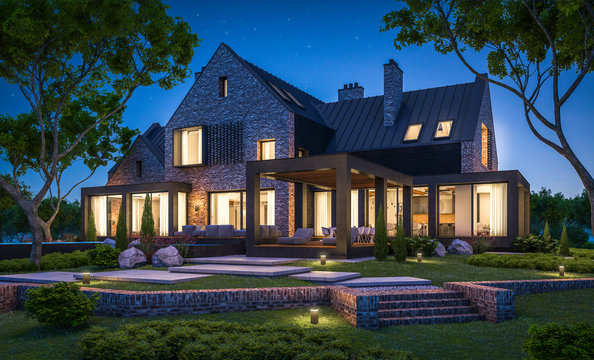 3d rendering of modern cozy clinker house on the ponds with garage and pool for sale or rent with beautiful landscaping on background. Clear summer night with many stars on the sky.