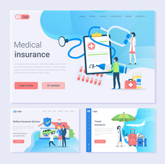 Medical and travel insurance and online service, safety set vector. House, car and family safe, doctor with contract of clipboard, paper with contract. Website or webpage template, landing page flat