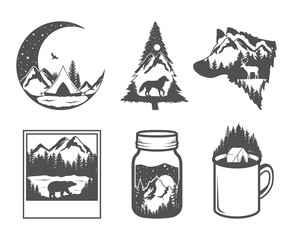 Obraz Double exposure. Wildlife concept. Hand drawn outdoor badges. Wild nature in black and white colors - fototapety do salonu