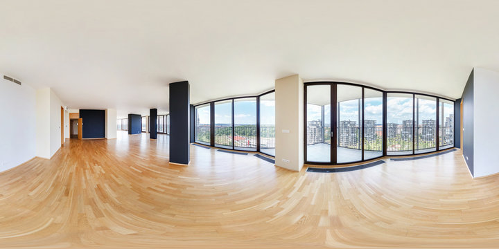 Modern white empty loft apartment interior, living room, hall, ace panorama, full 360 panorama in equirectangular spherical projection, VR content