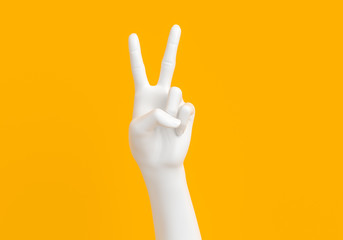 Peace hand symbol, Victory sign gesture, two fingers white hand isolated on yellow background, 3d rendering