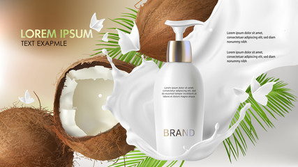 Cosmetic realistic vector background. White bottle with face cleansing gel falling in milk splash near cracked coconut with tropic green palm leaves. Mock up promo banner, natural cosmetics concept