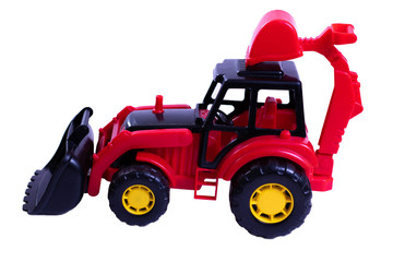 Children's toy - a red tractor on a white background, isolate