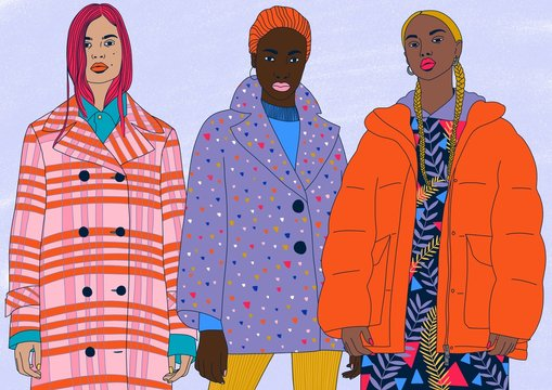 Illustration of three women in colorful coats