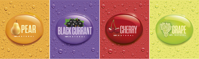 many fresh drops on different color backgrounds with pear, black currant, cherry, grape Wall mural