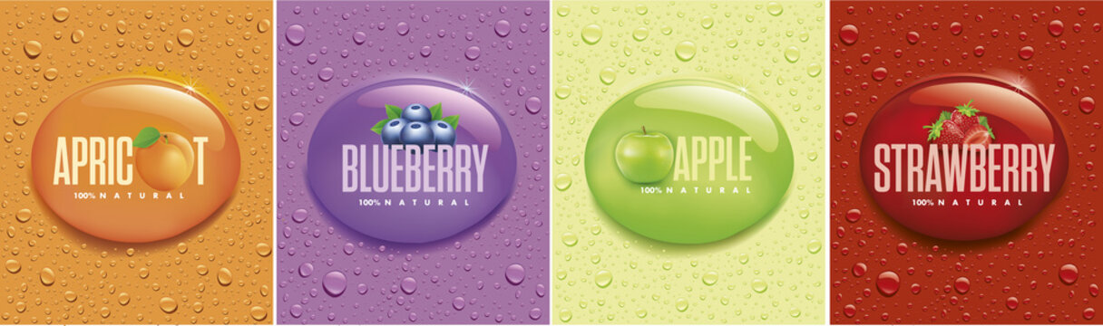many fresh drops on different color backgrounds with apricot, apple, blueberry, strawberry
