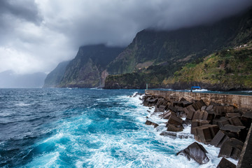Fotomurales - Pier near Seixal village, Madeira island, Portugal.