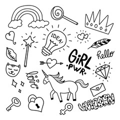 Vector illustration of Cute girly doodles set drawn by hand