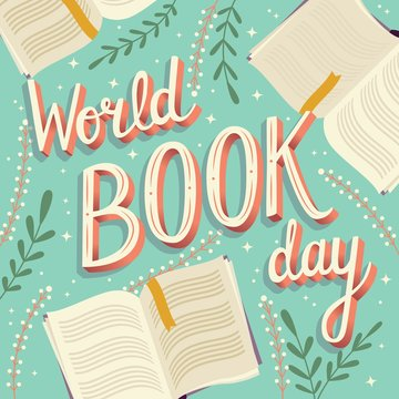 World book day, hand lettering typography modern poster design with open books