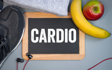 Chalkboard and sport equipment with cardio-training