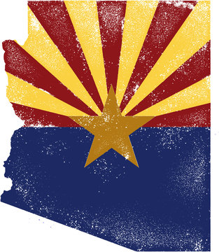 Distressed Arizona USA Flag in State Outline