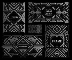 Vector set of art deco frames, abstract geometric design templates for luxury products. Linear ornament compositions, vintage. Use for packaging, branding, decoration, etc.