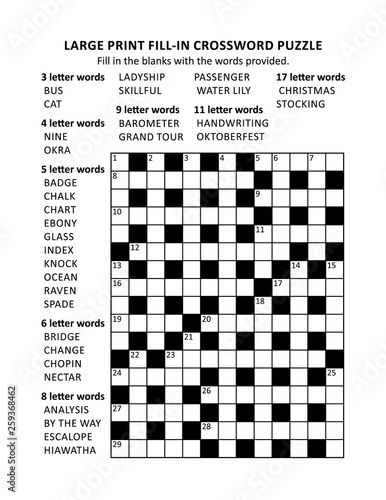 graphic about Fill in Crossword Puzzles Printable named Puzzle webpage with huge print criss-cross (kriss-kross, fill