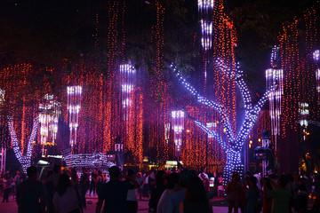 Illumination at Ayala triangle park, Makati City, Philippines