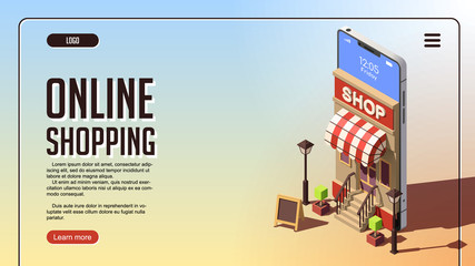 Online Shopping Concept. Vector Isometric Concept of Marketing or Digital Marketing.