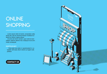 Online Shopping Concept. Halftone Isometric Vector Illustration.