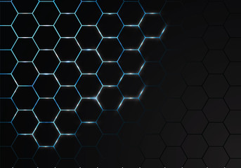 Abstract hexagon mesh blue light energy in black design modern technology futuristic background vector illustration.