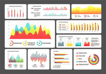 Visualization of data vector, set of infographics and infocharts. Information in visual form tables with statistics colored, pie diagram with explanations