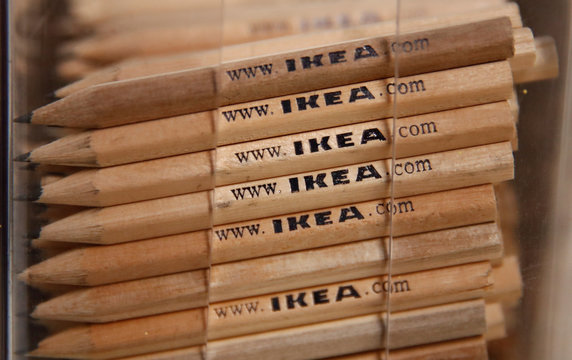 Giveaway pencils are stacked at a store of IKEA, the world's biggest furniture group, in Kaarst