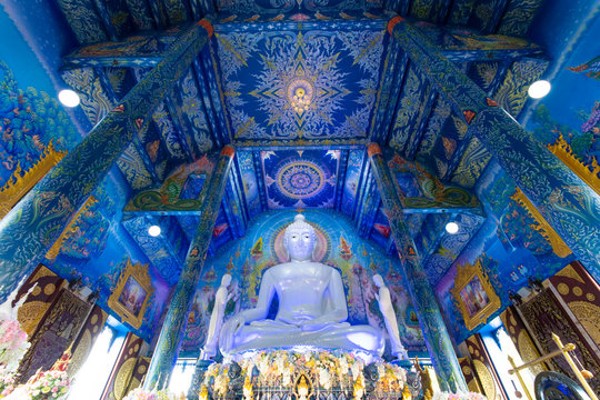 Chiangrai, Thailand 25/05/2018 The beautiful architechture of Buddhist temple calls Blue temple (Wat Rong Suea Ten) in Chiangrai, Thailand.