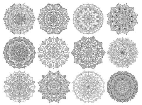 Mandalas for coloring book color pages set.