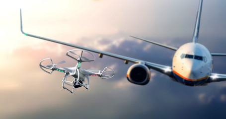 Drone flying near commercial airplane. Drone being hit by commercial airplane. Concept of aircraft accident. Wall mural