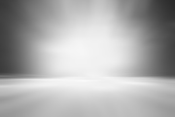 Fotobehang - 3D illustration background / Abstract gray empty room studio with spotlight  gradient used for background and display your product