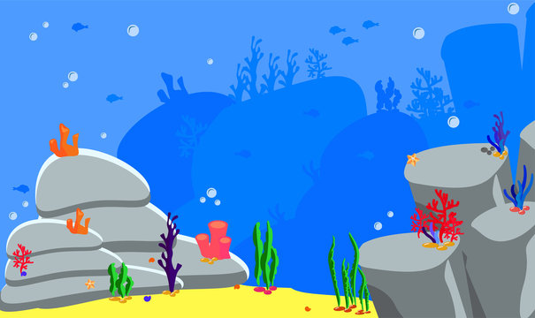 Panorama landscape sea bottom. Vector illustration ocean background. Game assets for stickers or web applications. Silhouette fish, algae and coral, shells, rocks and cave. Backdrop for baby birthday
