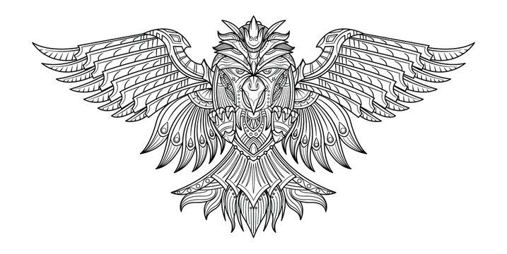 Vector hand drawn coloring book Birds in my imagination.