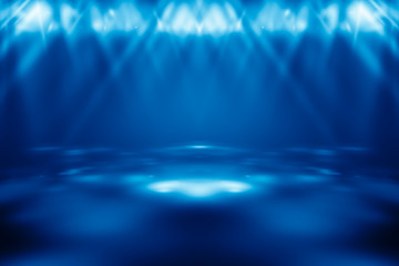 perspective floor backdrop Blue room studio with light blue gradient spotlight backdrop background for display your product or artwork.
