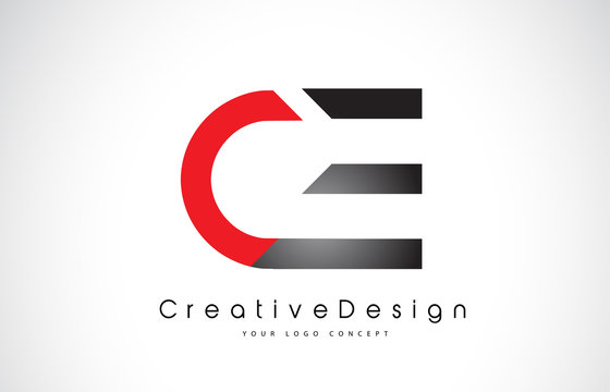 Red and Black CE C E Letter Logo Design. Creative Icon Modern Letters Vector Logo.