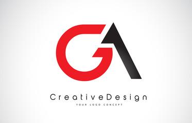 Fototapeta Red and Black GA G A Letter Logo Design. Creative Icon Modern Letters Vector Logo. obraz