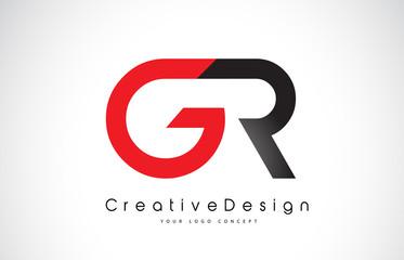 Red and Black GR G R Letter Logo Design. Creative Icon Modern Letters Vector Logo.