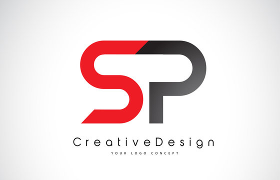 Red and Black SP S P Letter Logo Design. Creative Icon Modern Letters Vector Logo.