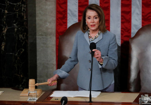 House Speaker Pelosi gavels the close of joint meeting of Congress after Stoltenberg address on Capitol Hill in Washington