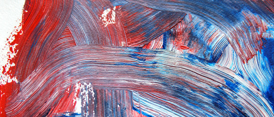 Painting in blue, white and red colors