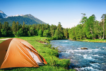 Wall Murals Camping camping in mountains